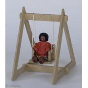 Kit Boneco de Madeira Articulado para Casinha de Boneca Mini Balanço Toys