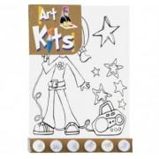 Kit para Pintura Tela Desenhada Grande Menina Fashion