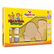 Mini Artista Tartaruga Brinquedo de madeira para pintar