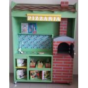 Modulo Pizzaria de madeira para casinha infantil
