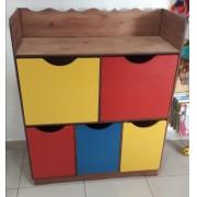 Organizador de Brinquedos de madeira 5 gavetas