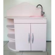 Pia de Madeira Rosa para casinha Infantil com Água