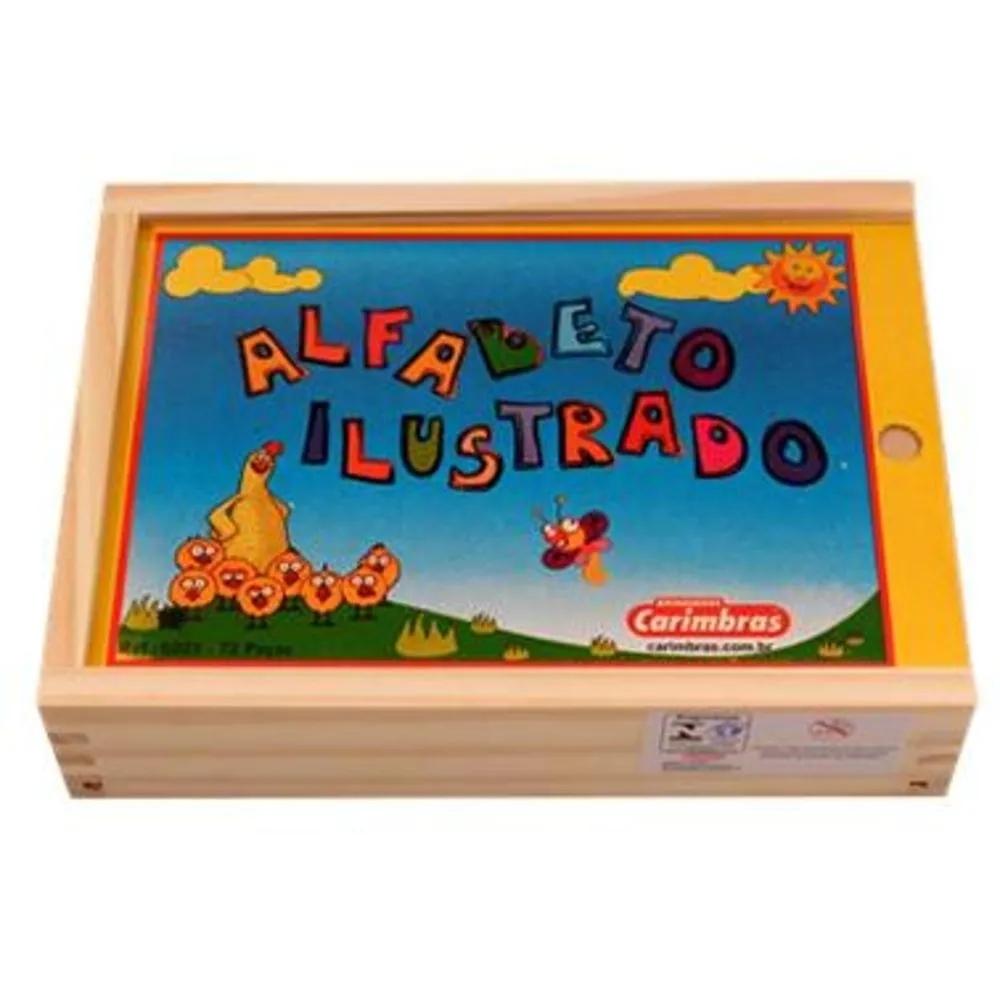 Alfabeto Ilustrado Brinquedo Educativo de Madeira para Alfabetização