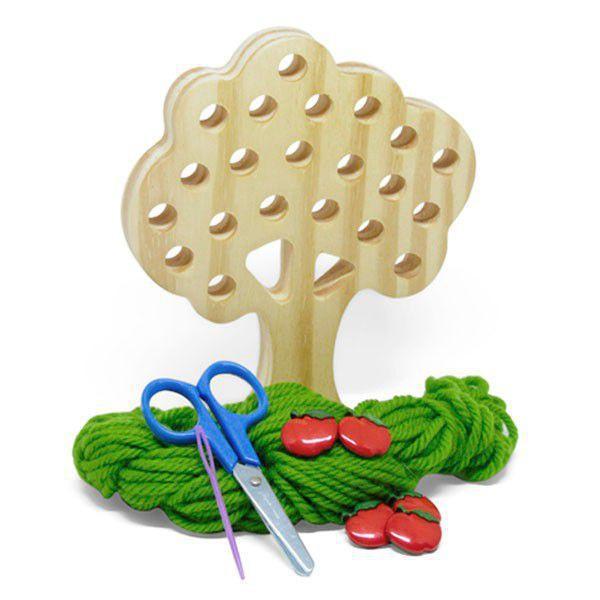Alinhavo Árvore Macieira Brinquedo Educativo de Madeira