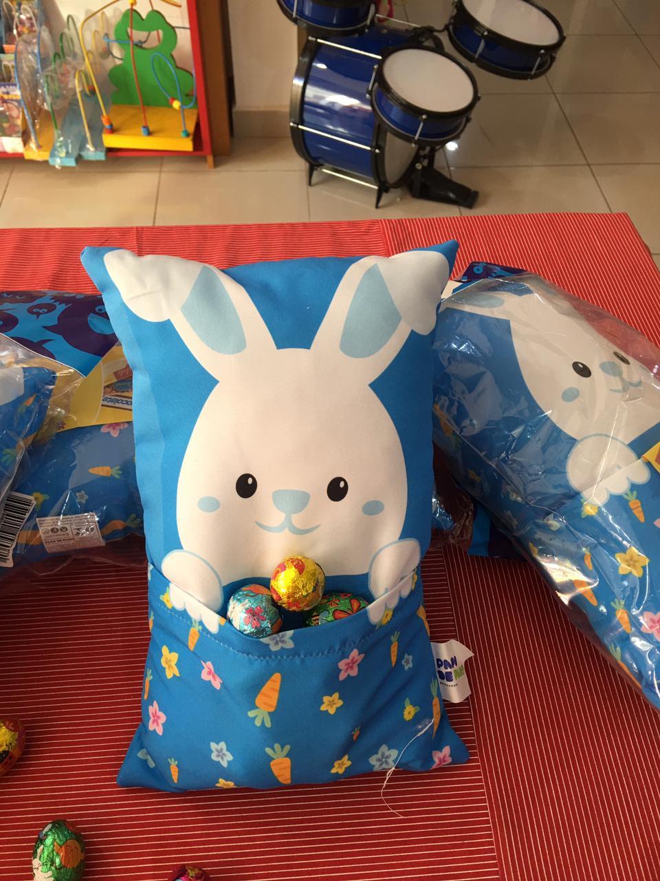 Almofada Coelho Azul Brinquedo de Pano