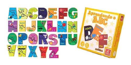 Aprendendo o ABC Brinquedo Educativo de Madeira