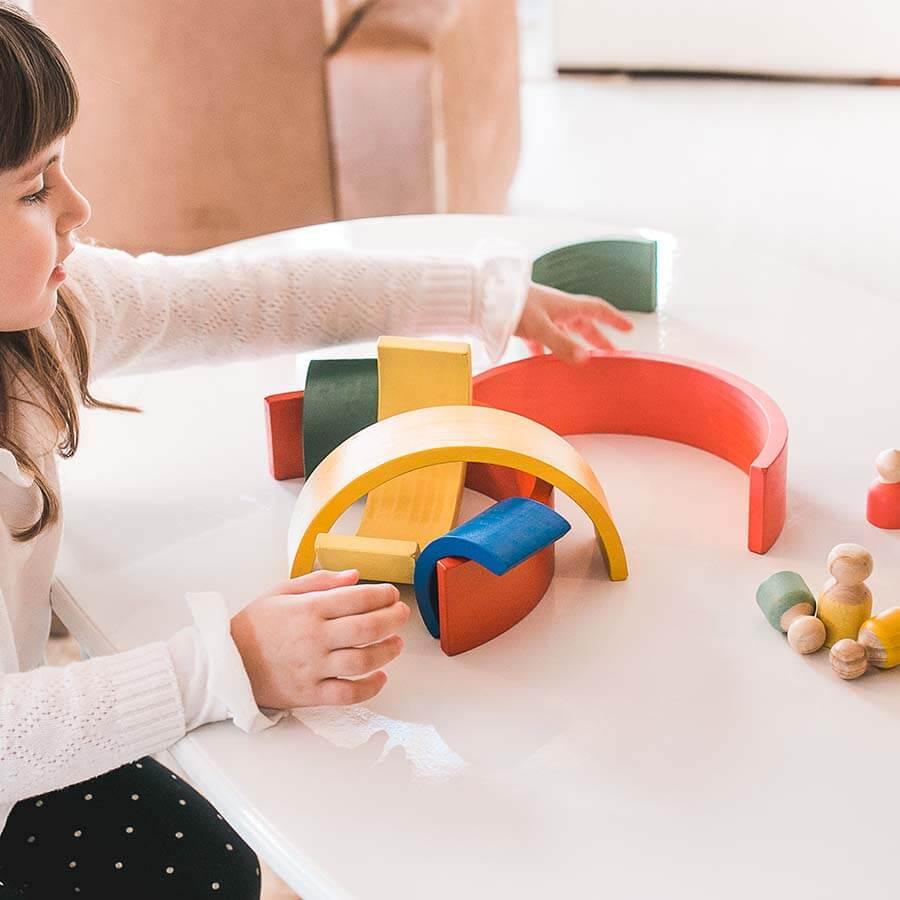 Arco Íris Pessoas Brinquedo de Madeira