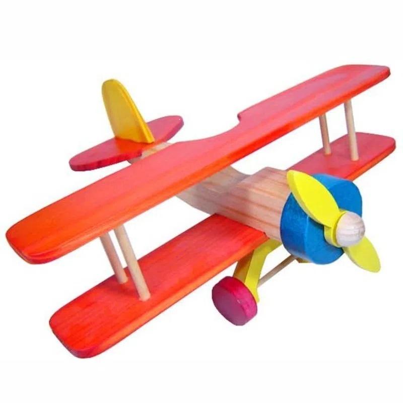 Avião Biplano Brinquedo de Madeira
