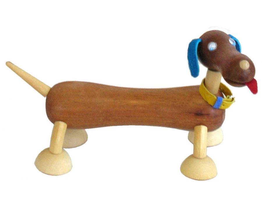 Bicho de Madeira Articulado Cachorro Salsicha