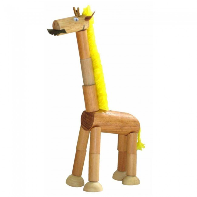 Bicho de Madeira Articulado Girafa Wandinha