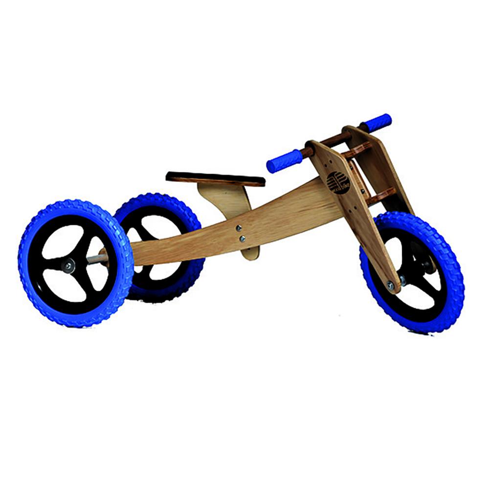 Bicicleta de Madeira 03 em 01 Woodbike Azul