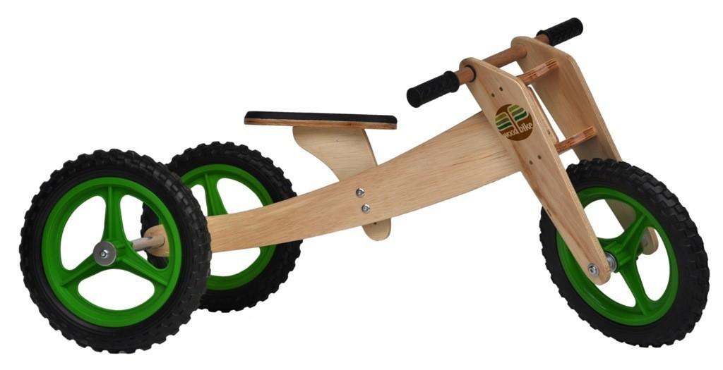 Bicicleta de Madeira 03 em 01 Woodbike Verde