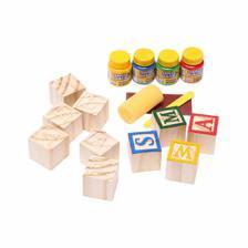 Bloco de Letras 40 Cubos em Madeira Crua
