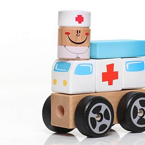 Bloco de Montar de Madeira  Ambulância em Bloco