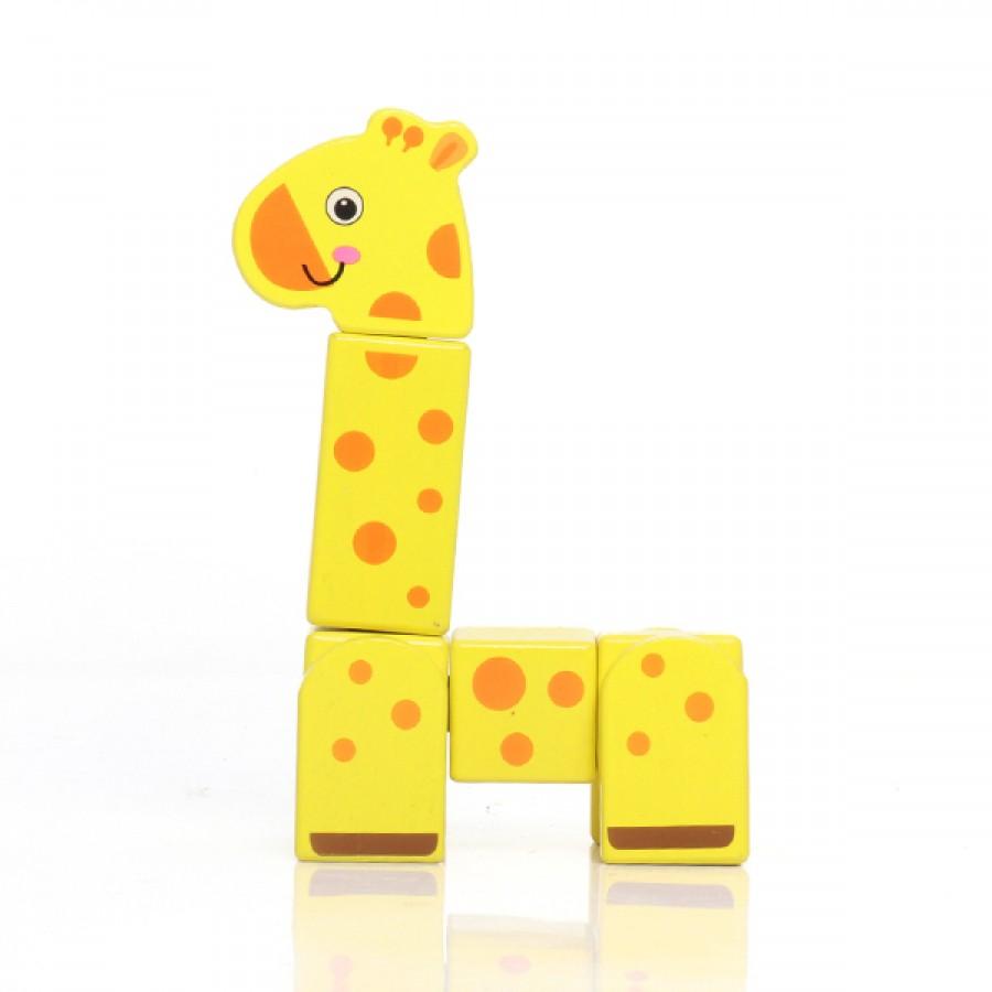 Bloco de Montar de Madeira Girafa em Bloco