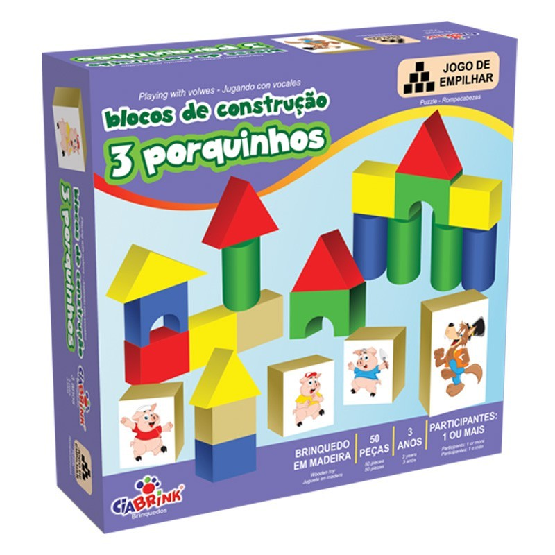 Blocos de Montar de Madeira Blocos de Construção Três Porquinhos