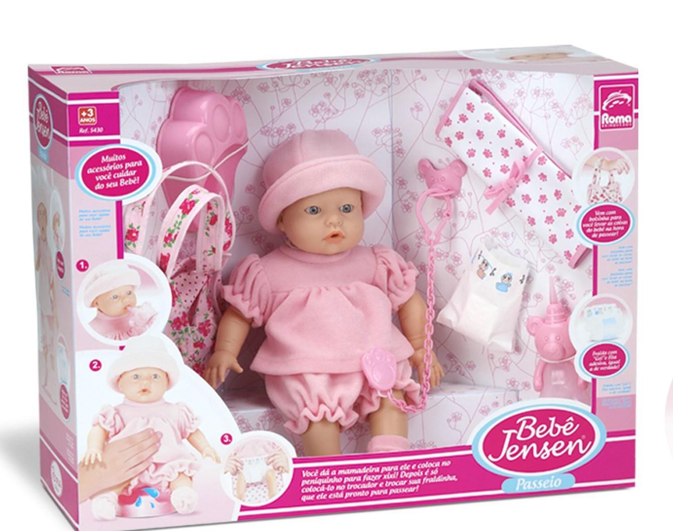 Boneca Bebê Jensen Dia de Passeio Roma Jensen