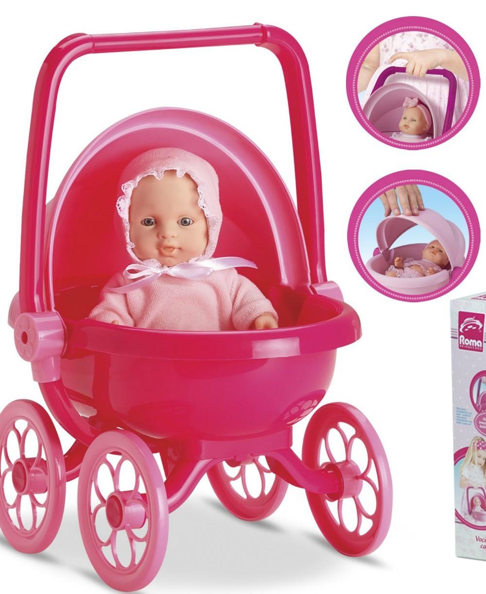 Boneca Micro Bebê Mania Carrinho Cores Sortidas