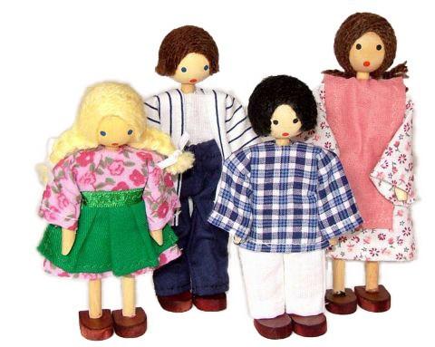 Bonecos de Madeira Miniatura para Casinha de Boneca Kit Bonecos Família com 4