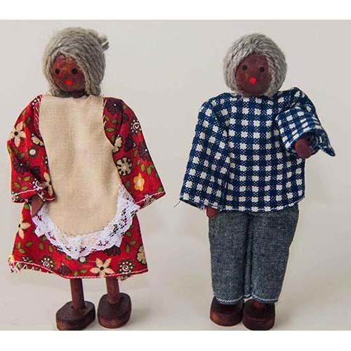 Bonecos de Madeira Miniatura para casinha de bonecas Kit Bonecos Avôs Negros