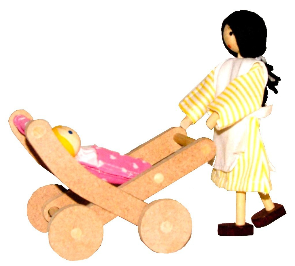 Bonecos de MadeiraMiniatura para casinha de bonecas  Kit Bonecos Bebê e Babá com Carrinho