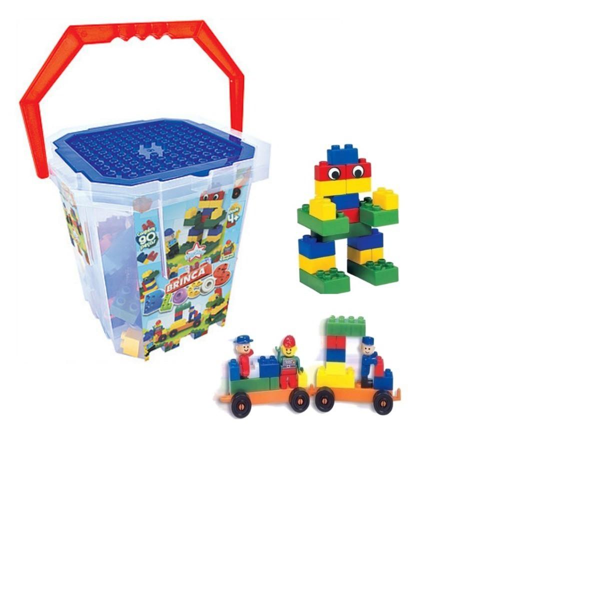 Brinquedo Balde Brinca Blocos 90 peças Blocos de Montar
