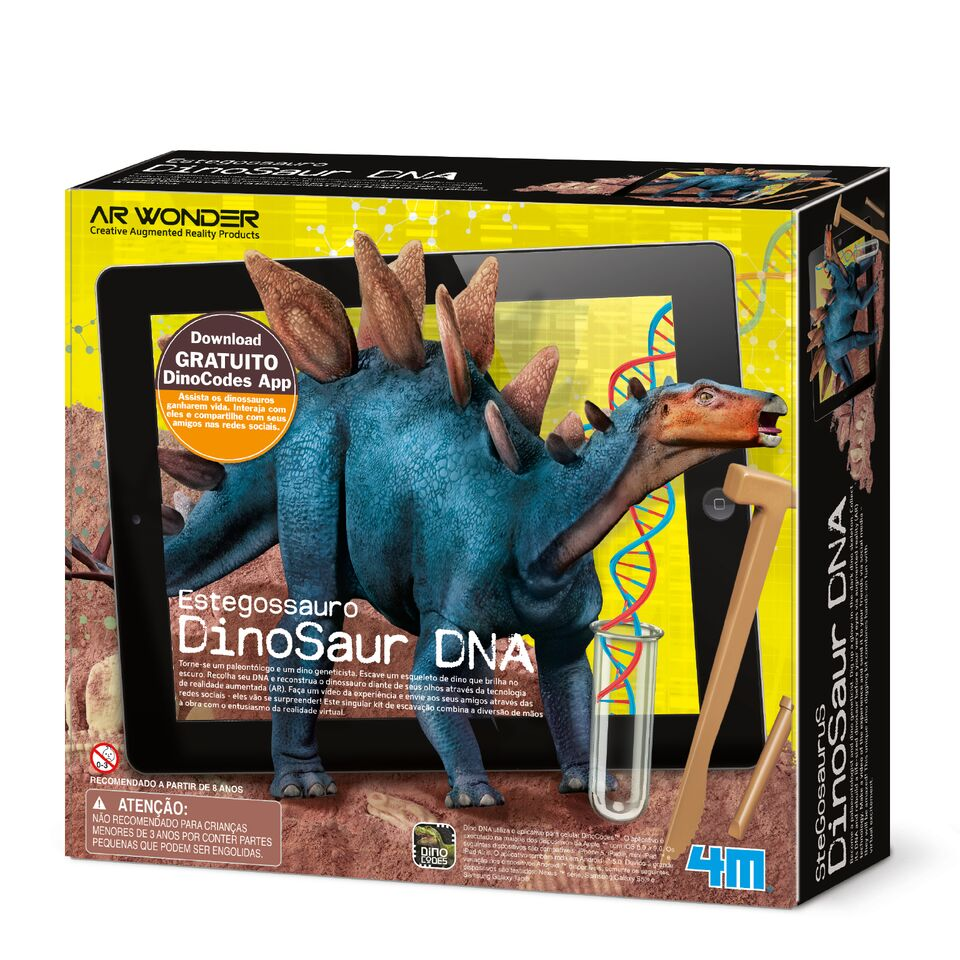 Brinquedo Cientifico Kit de Escavação Estegossauro Dino DNA