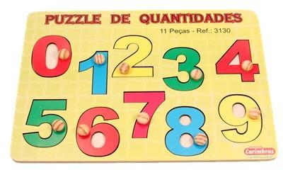 Brinquedo de Encaixar com Pinos de Madeira Números Puzzle de Quantidades