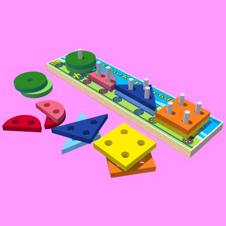 Prancha Ilustrada Brinquedo de Encaixe de Madeira