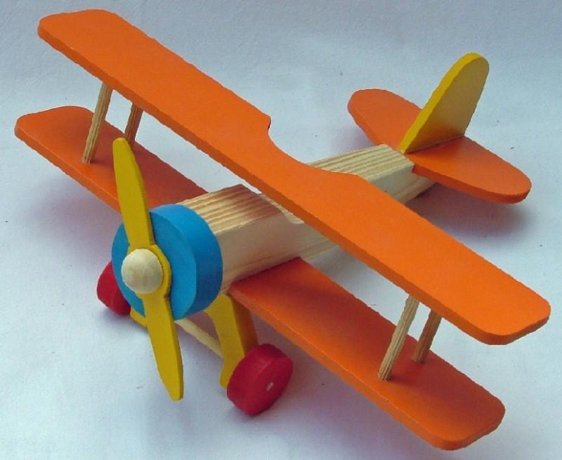Brinquedo de Madeira Avião Biplano em Madeira