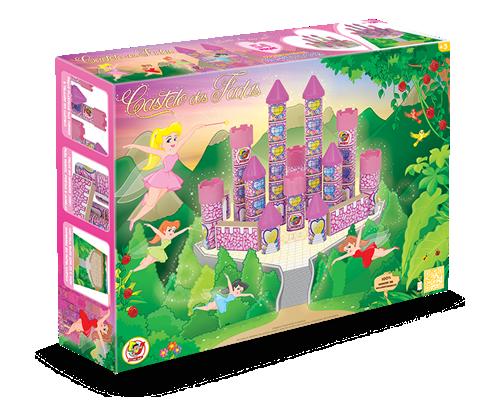 Brinquedo de Madeira Blocos de Montar Castelo das Fadas 54 peças