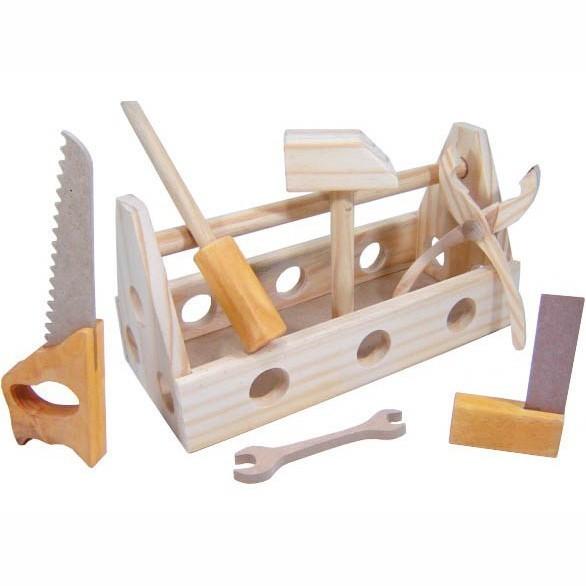 Brinquedo de Madeira Caixa de Ferramentas Natural