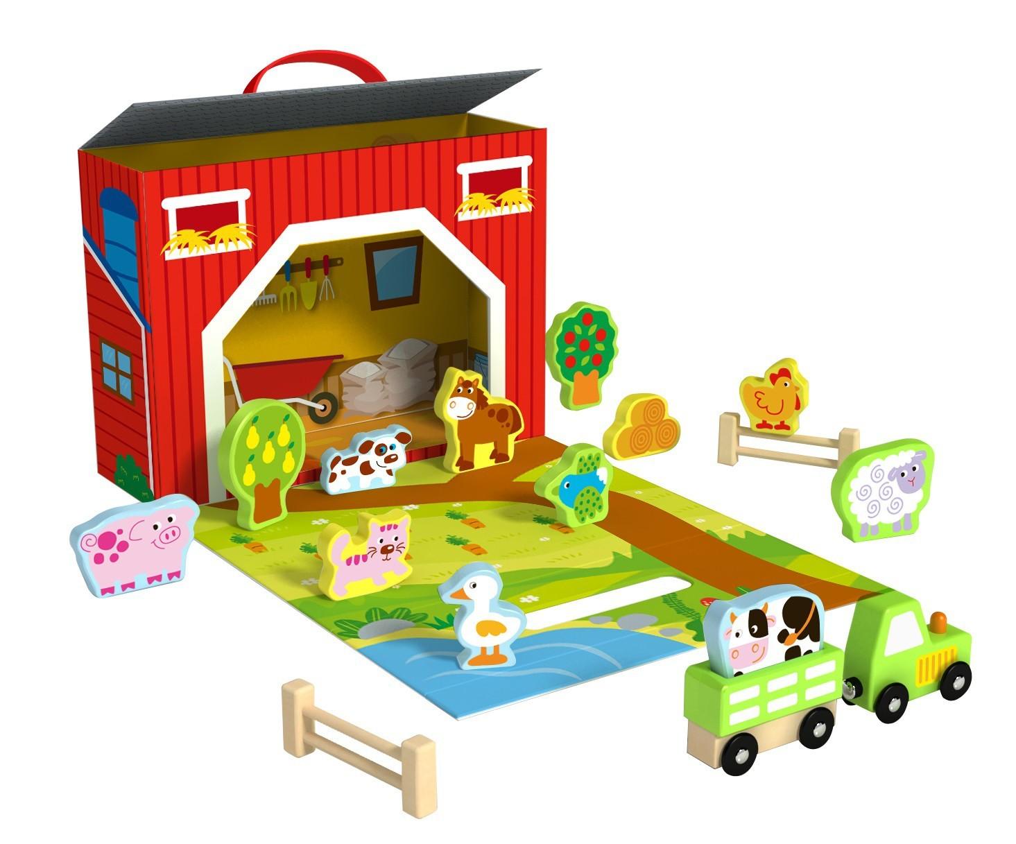 Brinquedo de Madeira Caixa Divertida Fazenda