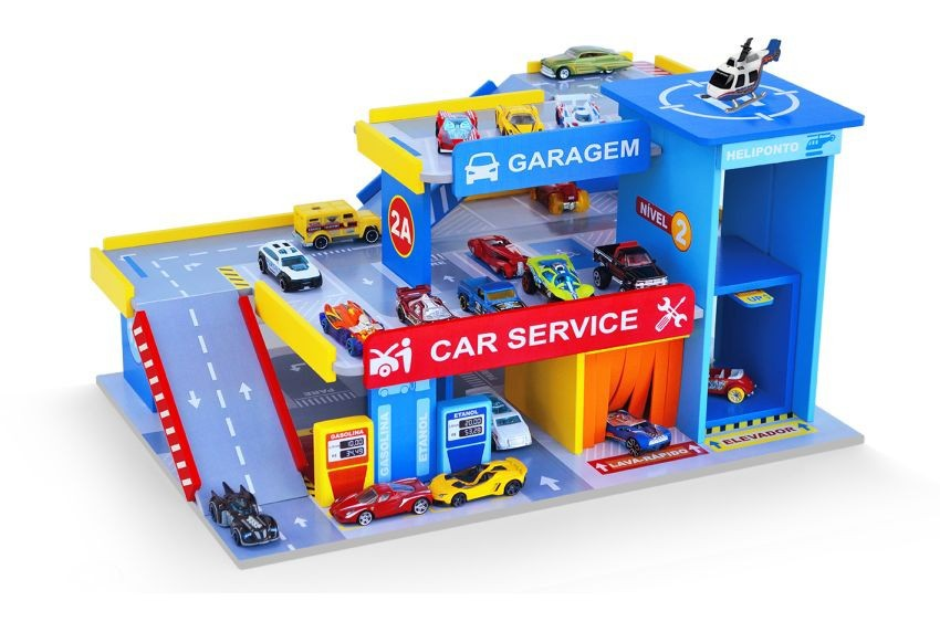 Brinquedo de Madeira Car Service Postinho e Garagem