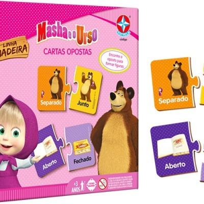 Brinquedo de Madeira Cartas Opostas Masha e o Urso Estrela