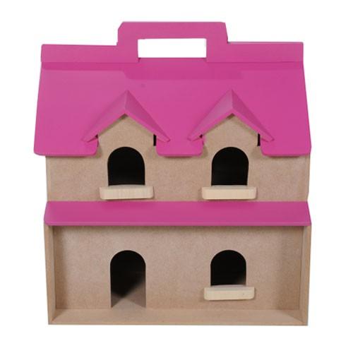 Brinquedo de Madeira Casinha de Boneca Casa Maleta com Móveis Abrindo no Meio