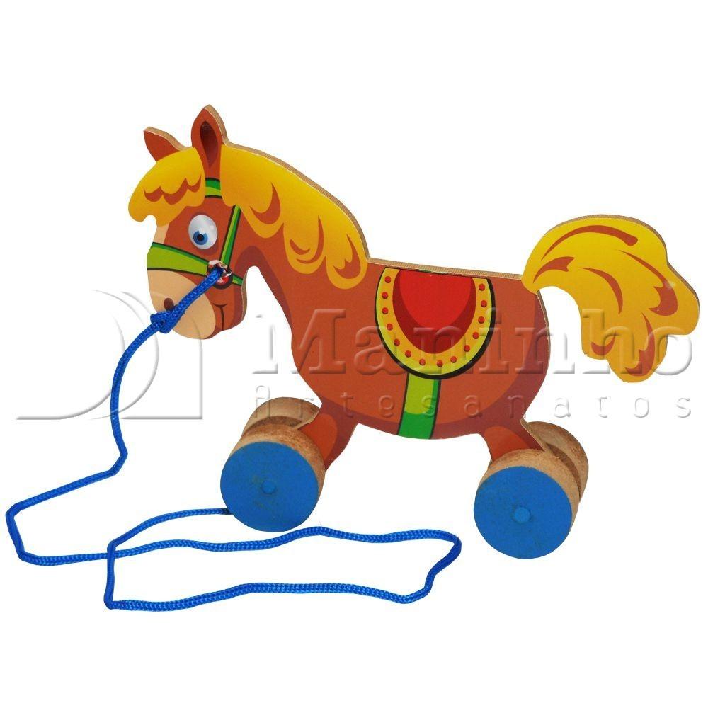 Brinquedo de Madeira Cavalinho de Puxar