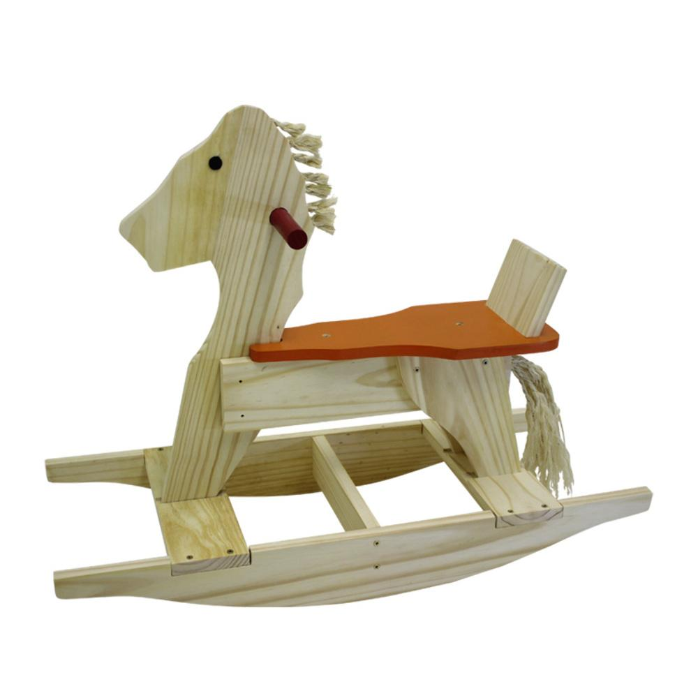 Brinquedo de Madeira Cavalo de Balanço com Encosto