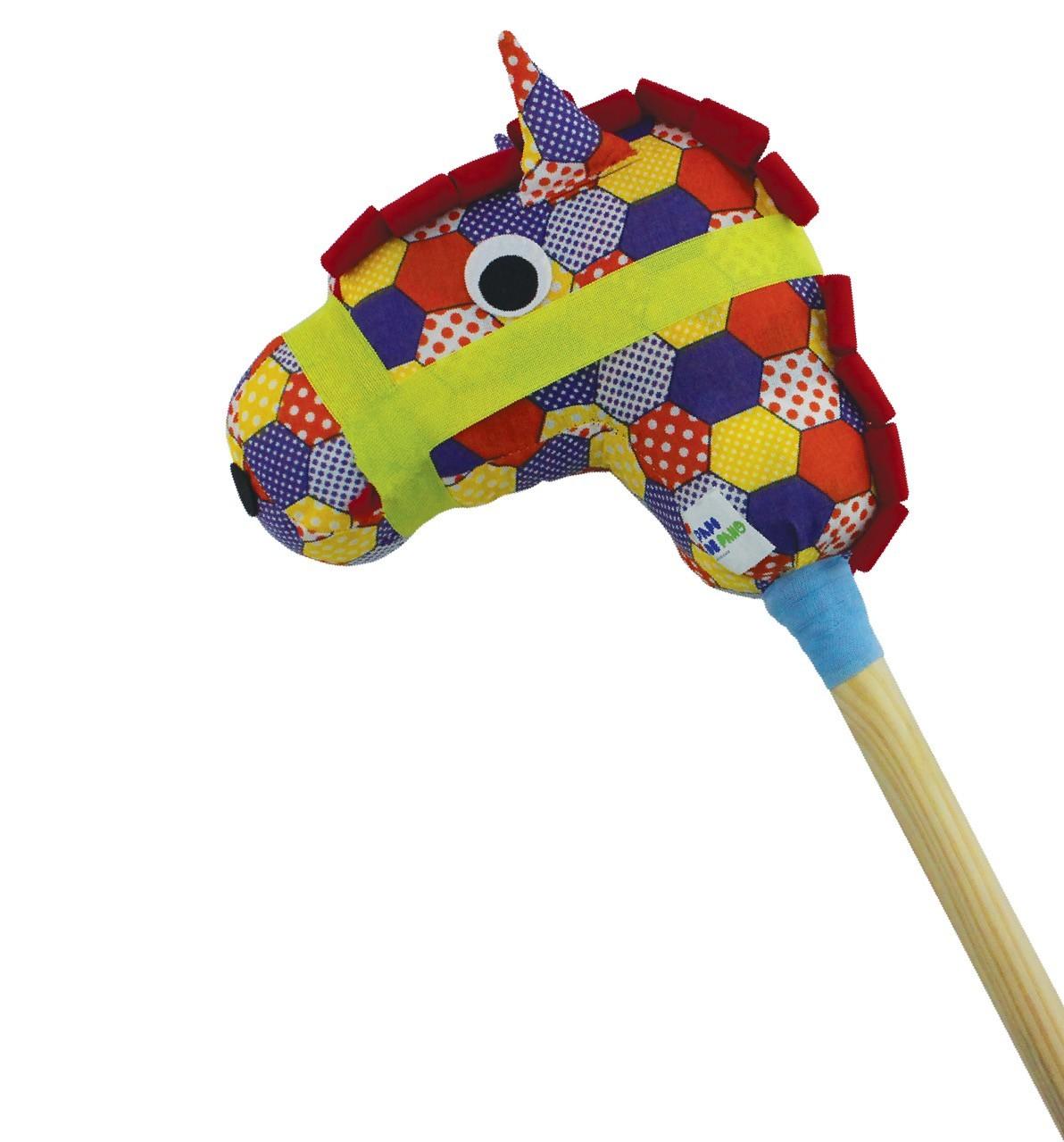 Brinquedo de Madeira Cavalo de Pau com a Cabeça de Tecido Estampado
