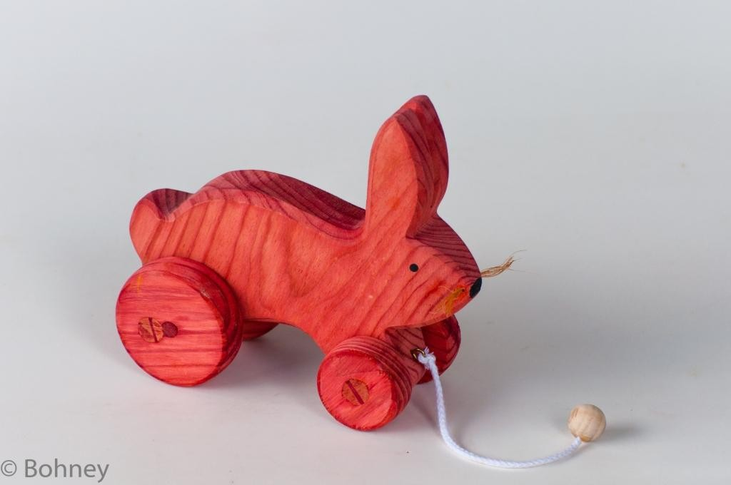 Brinquedo de Madeira Coelho para Puxar