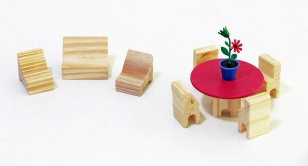 Brinquedo de Madeira Conjunto Completo de Móveis miniatura para Casinha de Boneca
