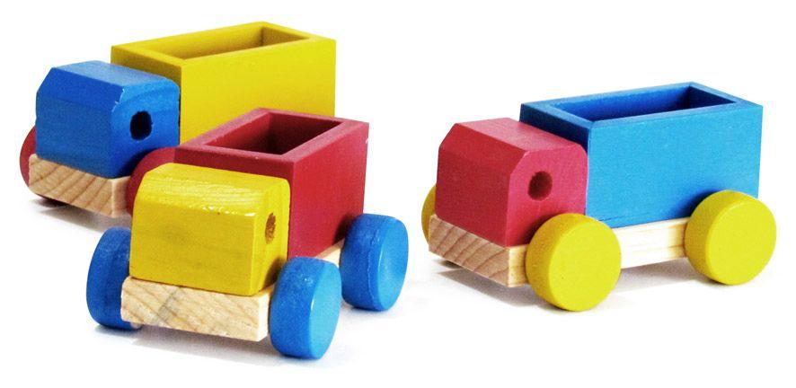 Brinquedo de Madeira Conjunto de Mini Caminhões