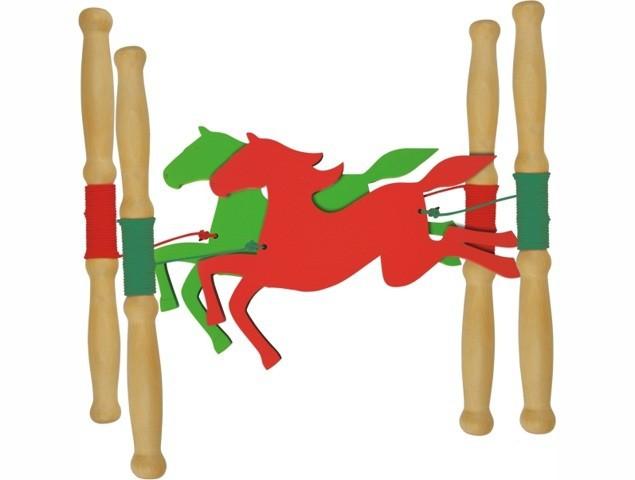 Brinquedo de Madeira Corrida dos Cavalos