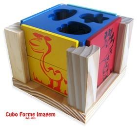 Brinquedo de Madeira Cubo Forme Imagem formas e atividades
