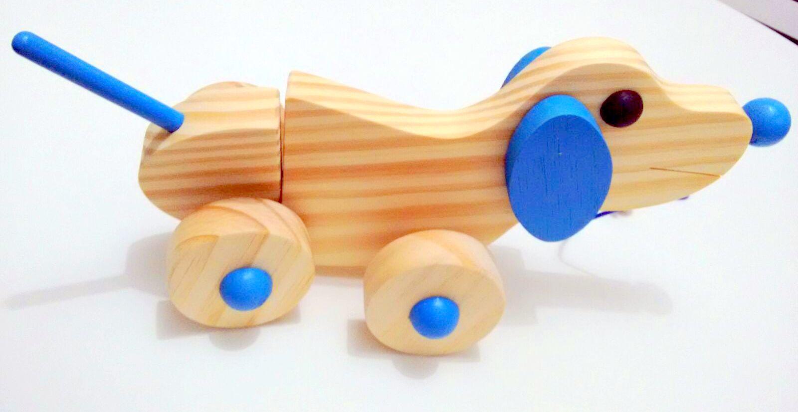 Brinquedo de Madeira de Puxar Cachorrinho Articulado Cores Sortidas