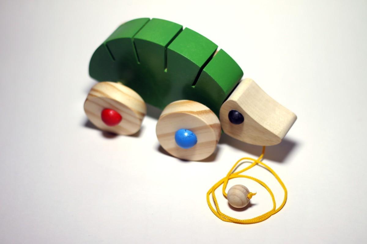 Brinquedo de Madeira de Puxar Tatu Articulado Cores Sortidas