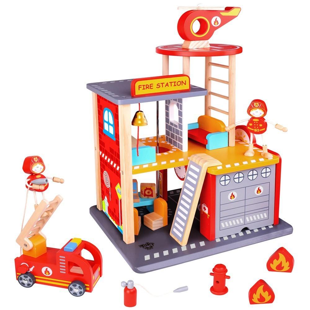 Estação Corpo de Bombeiro Brinquedo de Madeira