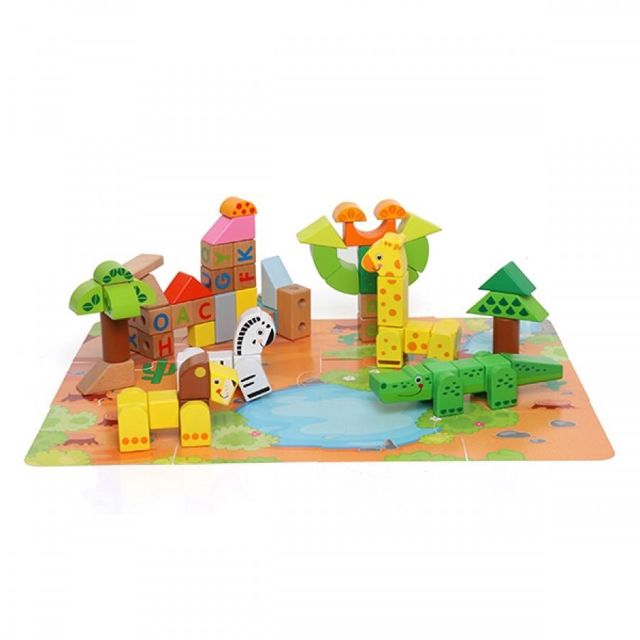 Brinquedo de Madeira Floresta em Blocos de montar de madeira