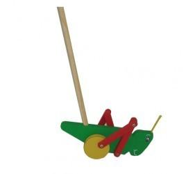 Brinquedo de Madeira Grilo Colorido de Empurrar.