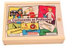 Brinquedo de Madeira Jogo Conhecendo as Profissões